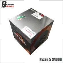 AMD Ryzen 5 3400G R5 3400G 3.7 GHz رباعية النواة ثمانية موضوع 65 واط معالج وحدة المعالجة المركزية L3 = 4 متر YD3400C5M4MFH المقبس AM4 جديد ولها مروحة