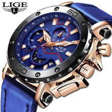 LIGE Luxury Brand Men Blue Leather Sports Watches Men's Army Military Watch Male Date Analog Quartz Clock Relogio Masculino 2019 стоимость