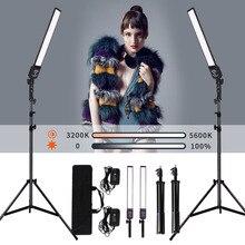 GSKAIWEN 2 حزم عكس الضوء ثنائي اللون التصوير الفوتوغرافي الإضاءة استوديو LED الفيديو الضوئي عدة مع حامل ثلاثي القوائم لتصوير صورة المنتج