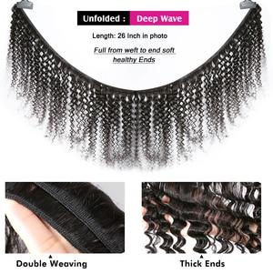 Image 3 - Cheveux brésiliens bouclés 100% vague deau 3 4 paquets armure et fermeture de dentelle 8 28 30 40 pouces paquets profonds de vague avec la fermeture