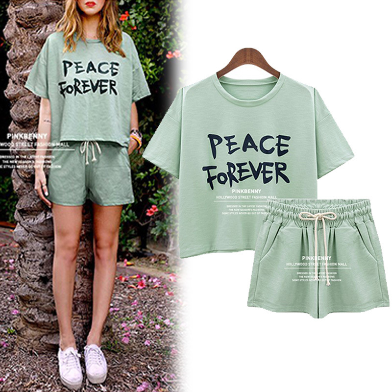 Sports Casual WOMEN'S Suit Summer Fashion New Style Large Size Short Sleeve T-shirt + Shorts Running Two-Piece Set Europe And Am