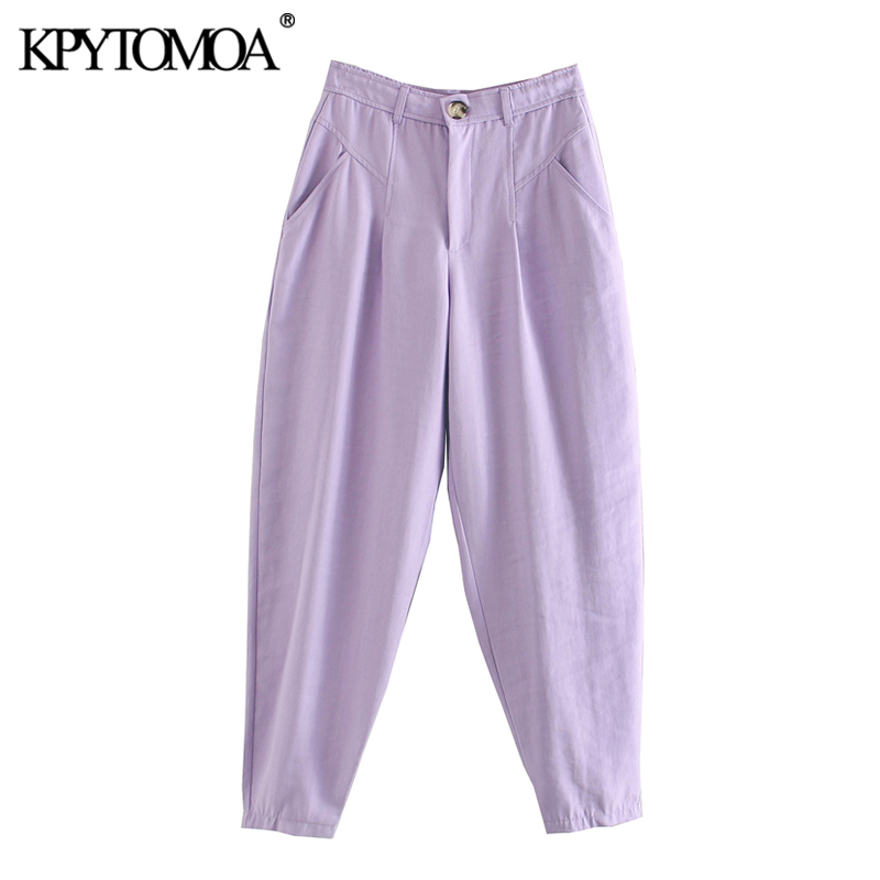 KPYTOMOA Women 2020 Chic Fashion Pockets Harem Pants Vintage High Waist Zipper Fly Female Ankle Trousers Casual Pantalones Mujer