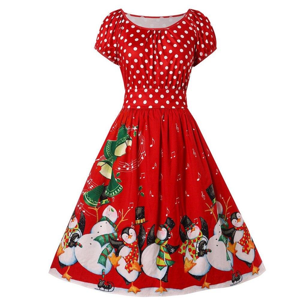 Büyük boy kış kadın elbiseler rahat sevimli baskılı noel elbise rahat 2019 gevşek parti kısa elbise artı boyutu Vestidos Robe