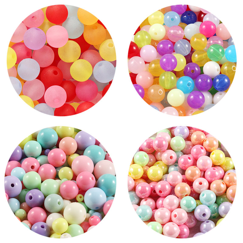 100/300/500 шт./лот 4-12 мм, разноцветные акриловые Круглые бусины для самодельных браслетов и ожерелий, аксессуары для изготовления ювелирных изд...
