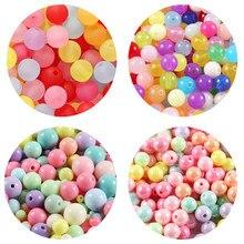 100/300/500 pçs/lote 4-12 milímetros Multi Cores Acrílico Redondo Beads Para DIY Pulseiras & Colares Makings Jóias Acessórios