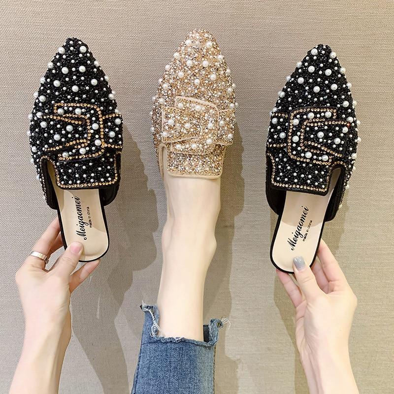 Flat Shoes Female Slippers Women Summer Low Luxury Slides Cover Toe Pantofle Jelly Flip Flops Designer 2020 Glitter Rubber