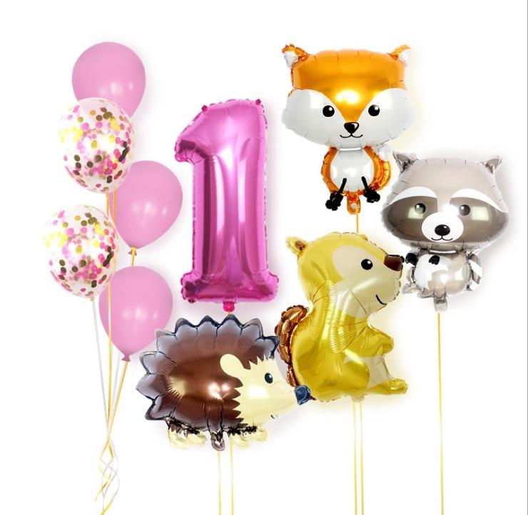 Animal Balloons Raccoon Fox Squirrel Hedgehog Foil Helium Balloon  Jungle Party Decor Boy Kid Baby Shower Toy Cartoon Hat
