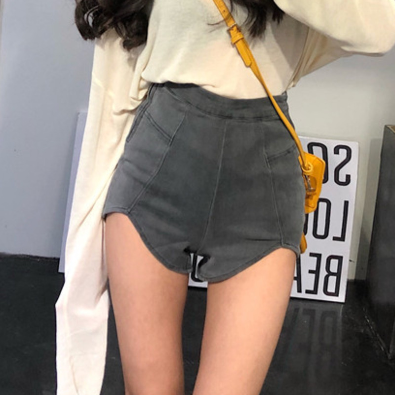 H1581b2484dc14dce9c5e08f7083ba1c8f - DEAT New spring and summer fashion high waist slim elastic denim shorts female Zippers denim short pants WL16402L