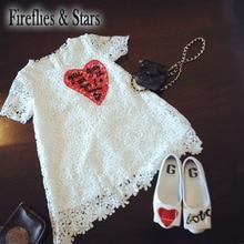 여름 여자 공주 드레스 아기 파티 드레스 아이 빈티지 Vestidos 어린이 브랜드 의류 심장 자수 레이스 2 ~ 7 세