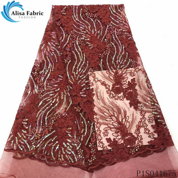Alisa latest french net lace fabric 2020 high quality embroidery nigerian tulle fabrics african sequins laces for garment sewing