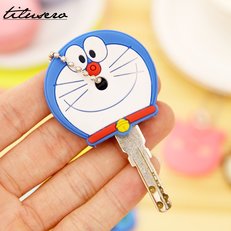 8PCS/Lot Cute Anime Cartoon Silicone Stitch Minion Key Cover Key Caps With Keychain Key Holder F032