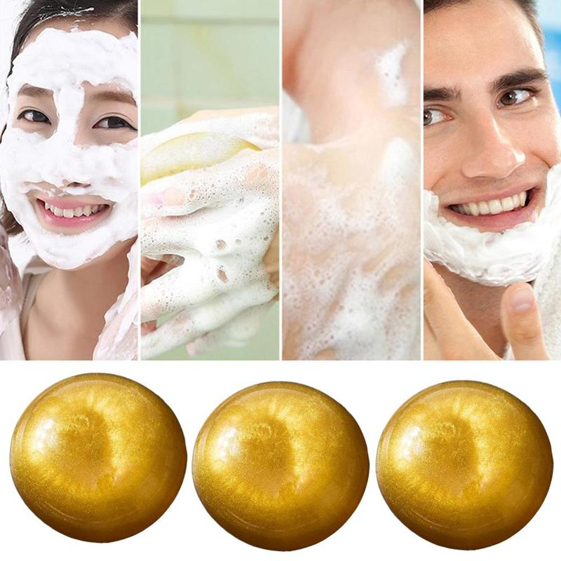 80g Amino Acid 24 Gold Handmade Face Soap Nano Gold Natural Handmade Soap Drug Bactericidal Deep Cleansing Skin Facial Care Soap