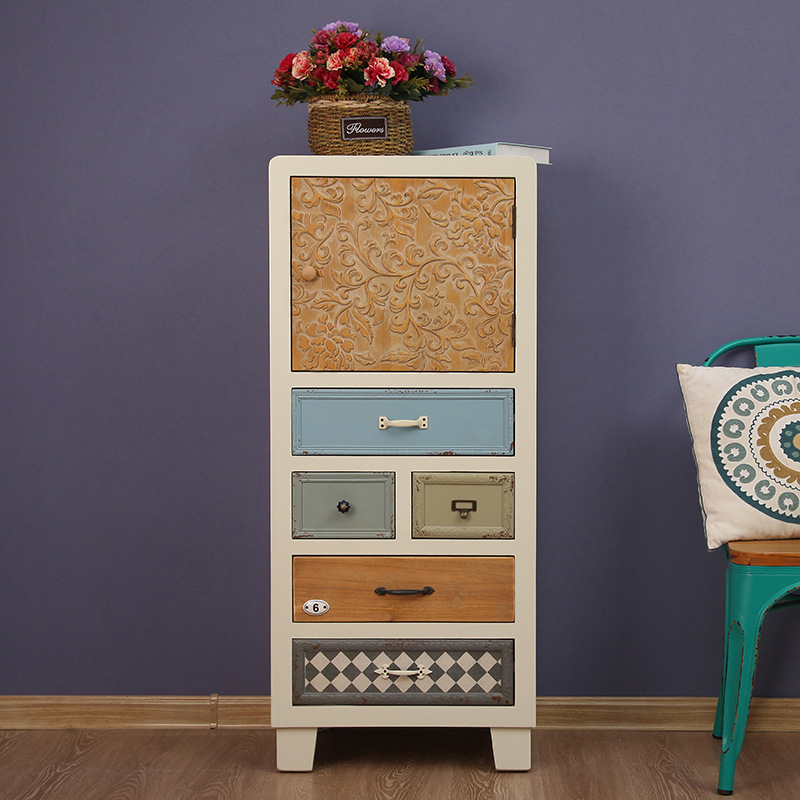 Mediterranean Solid Wood Cabinet Full