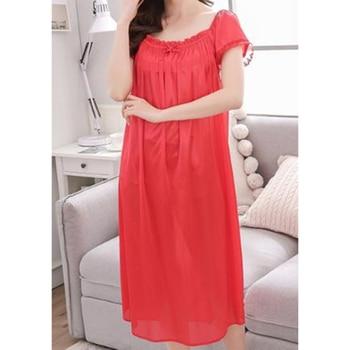 Healthy Women Clothes Lace Ice Silk Satin Nightdress Nightwear Sexy Women Sleepwear Satin Nightgown Vestidos Girl Lingerie 2020 фото