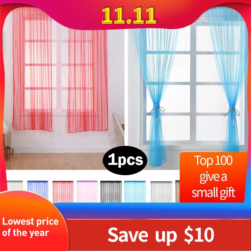 Pure Sheer Curtain Tulle Window Treatment Voile Drape Valance 1 Panel Fabric basic style cortinas para la sala#A