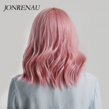 JONRENAU High Quality Short Natural Wave Hair Synthetic Wigs with Neat Bangs for Women Pink Beige Brown 3 Colors for Choose 3