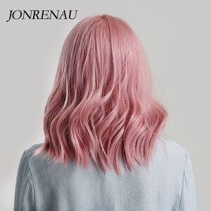 Image 3 - JONRENAU באיכות גבוהה קצר טבעי גל שיער סינטטי פאות עם פוני מסודר לנשים ורוד בז חום 3 צבעים עבור לבחור