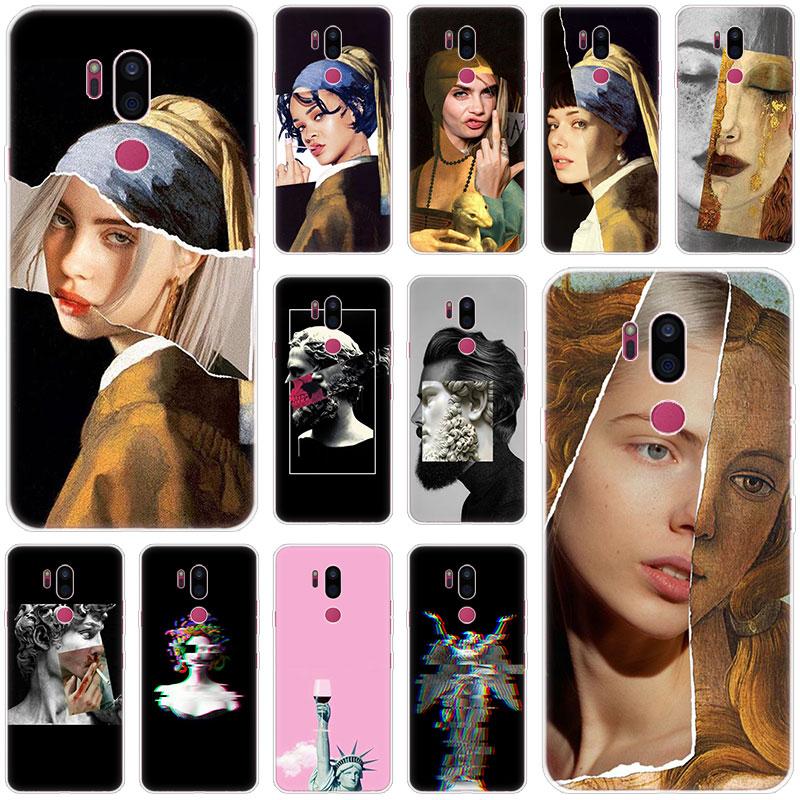 Collage David Mona Lisa Art Case For LG G5 G6 Mini G7 G8 G8S V20 V30 V40 V50 Thinq Q6 Q7 Q8 Q9 Q60 W10 W30 Aristo 2 X Power 2 3