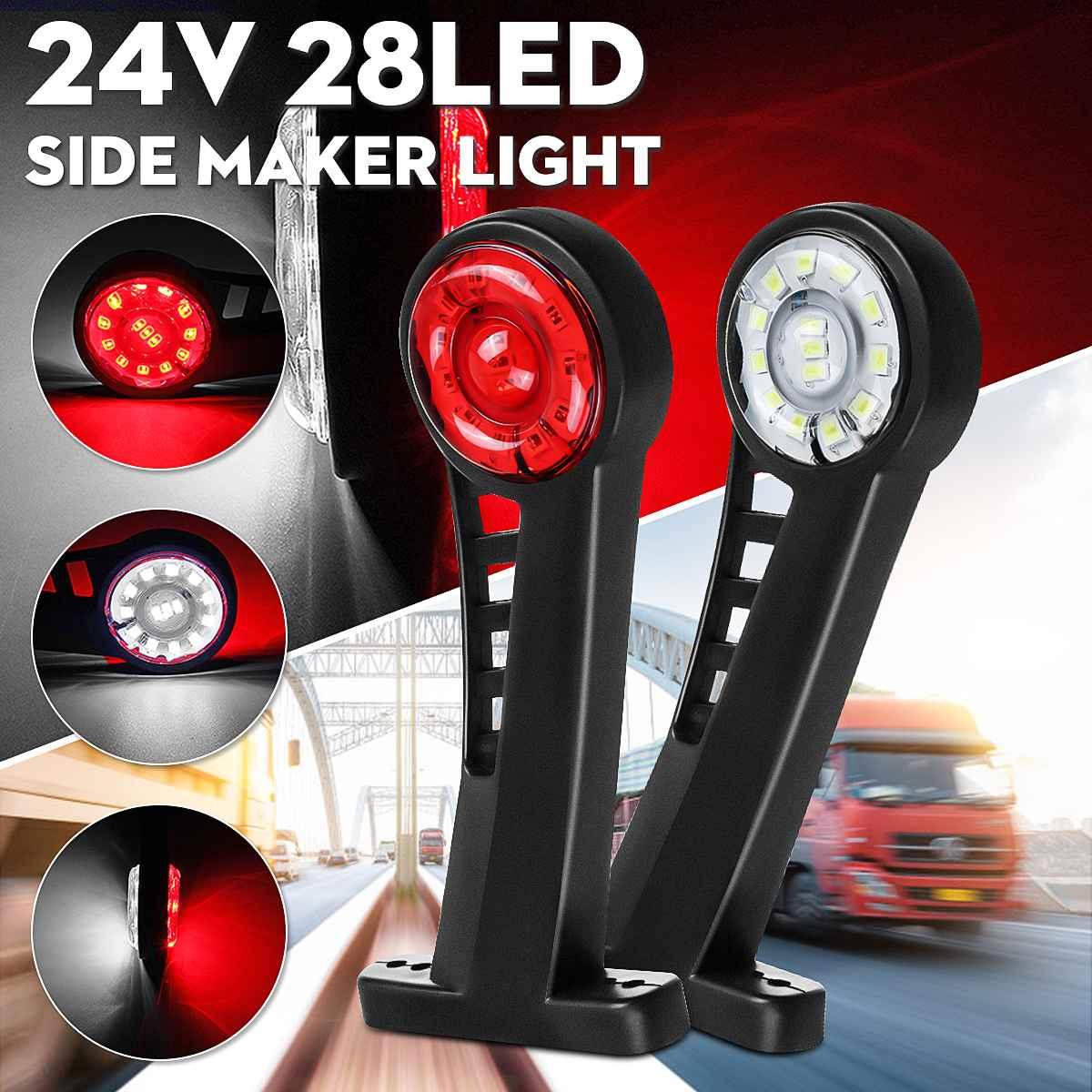 2pcs 24V Car Truck Elbow Side Marker Lights Indicator Light Warning Signal Lamp Rear Tail Light for Trailer Van Lorry Bus