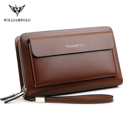 WilliamPOLO Brand Fashion High Quality Mens Clutch Wallet  Luxury Wallet Men Organizer Wallet PL162