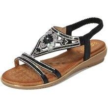 цена на 2019 Women's Summer Bohemia Diamond Sandals Women Beach Rhinestone Shoes T-strap Thong Flip Flops Plus Size Peep Toe Shoes Mujer