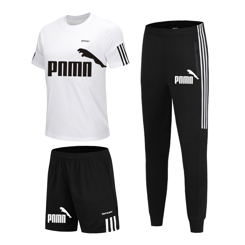 running - New men's sportswear 2020 summer 3-piece suit men's short-sleeved T-shirt top + shorts +casual sports trousers suit gym running