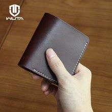 WUTA orijinal el yapımı DIY küçük cüzdan 100% hakiki deri yarı mamul Unisex çanta noel hediyesi