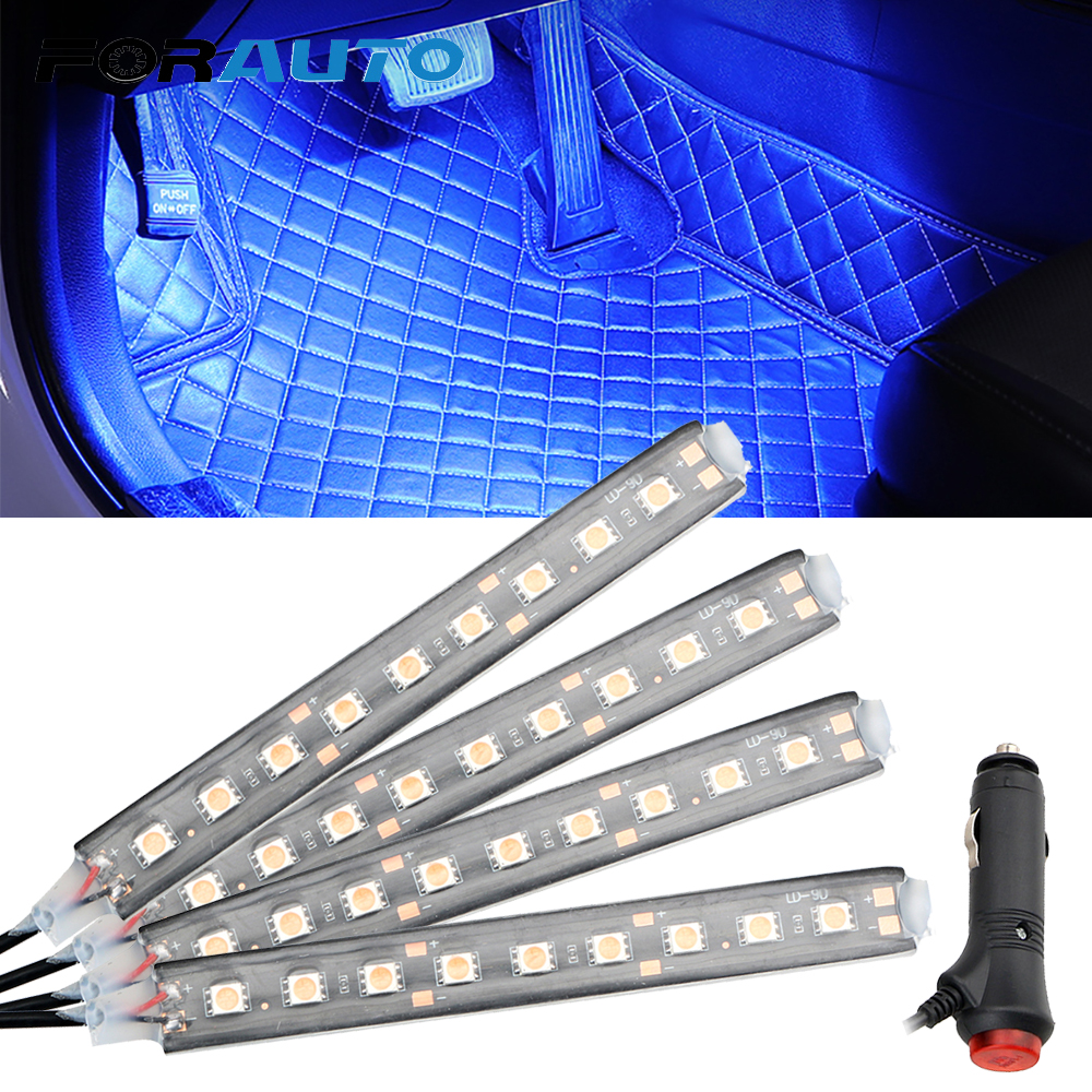 FORAUTO 4 In 1 9 LED Car Interior Atmosphere Lights Dash Floor Foot Lights Cigarette Lighter Auto Decorative Lamp Ambient Lamp