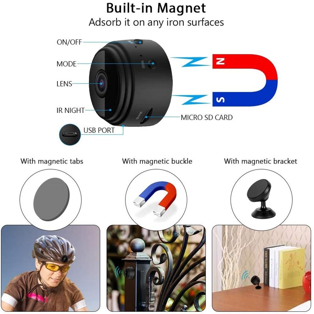 A9 1080P Wifi Mini Camera, Home Security P2P Camera WiFi, Night Vision Wireless Surveillance Camera, Remote Monitor Phone App 2