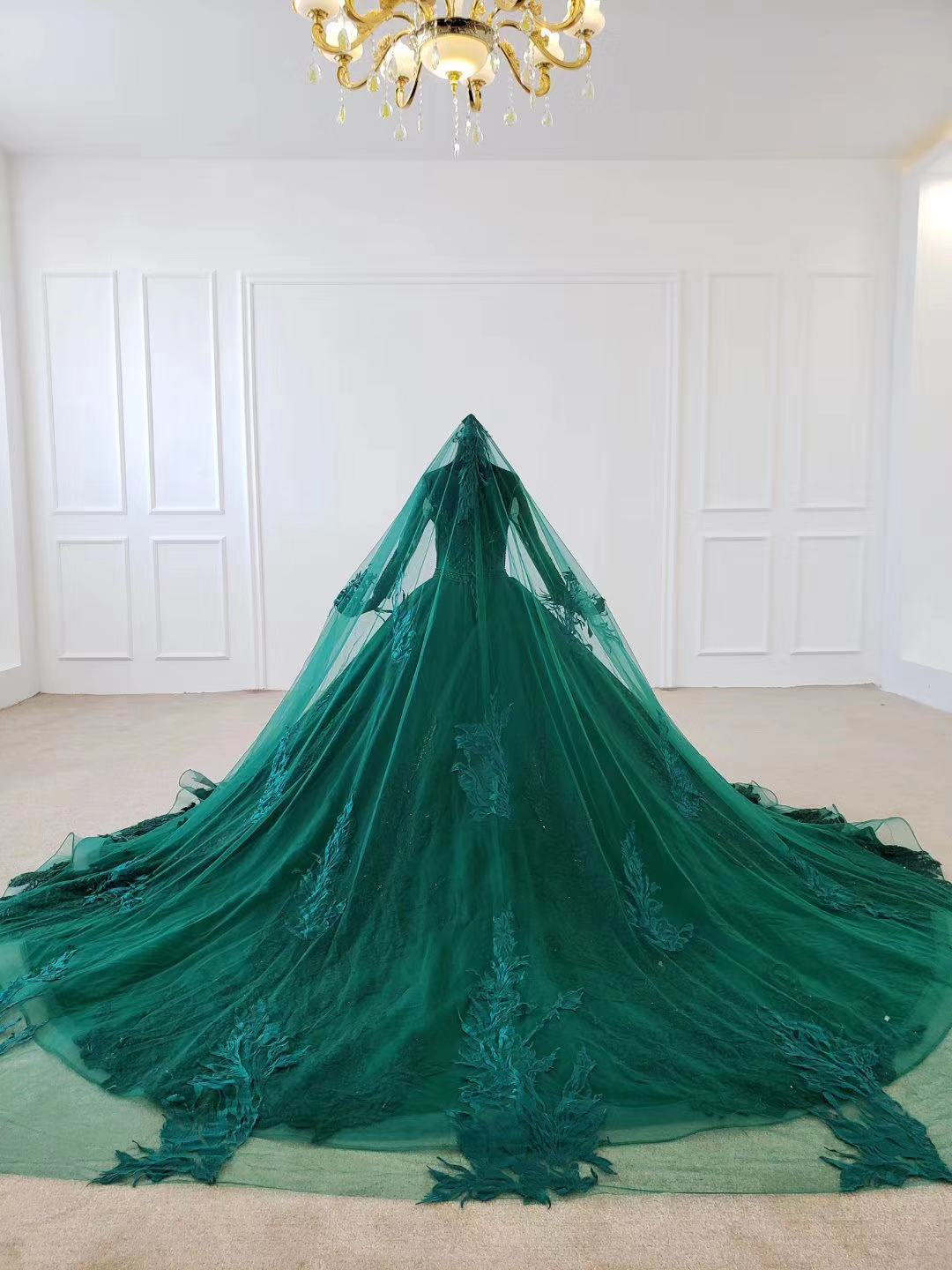 2020 New Green Satin Prom Dresses Prom Gown Scoop Ball Gown Sleeveless Evening Dress For Graduation Long Train Arabic Dresses - 6