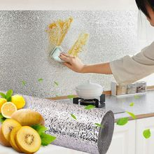 High Temperature Resistant Kitchen Tile Oil Proof Sticker 1 Aluminum Foil Silver Pattern Moisture Proof Cabinet Mat TOT pear pattern kitchen heat resistant oil proof aluminum foil sticker white yellow green