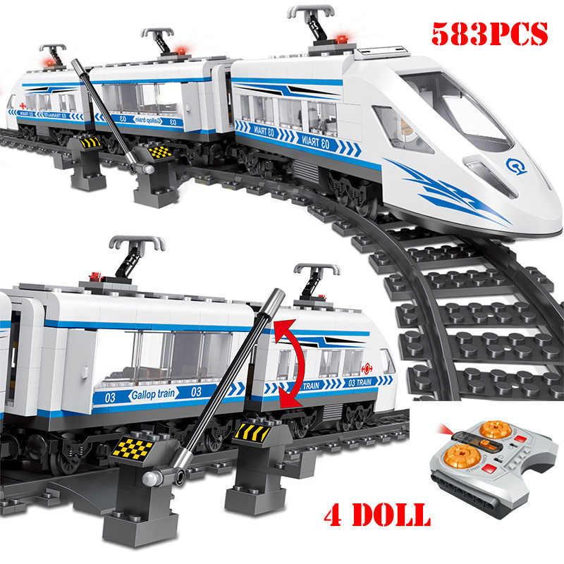 Blocs de construction de Rail de Train électrique alimenté par batterie technique RC Compatible Legoed télécommande briques de chemin de fer jouets pour enfants