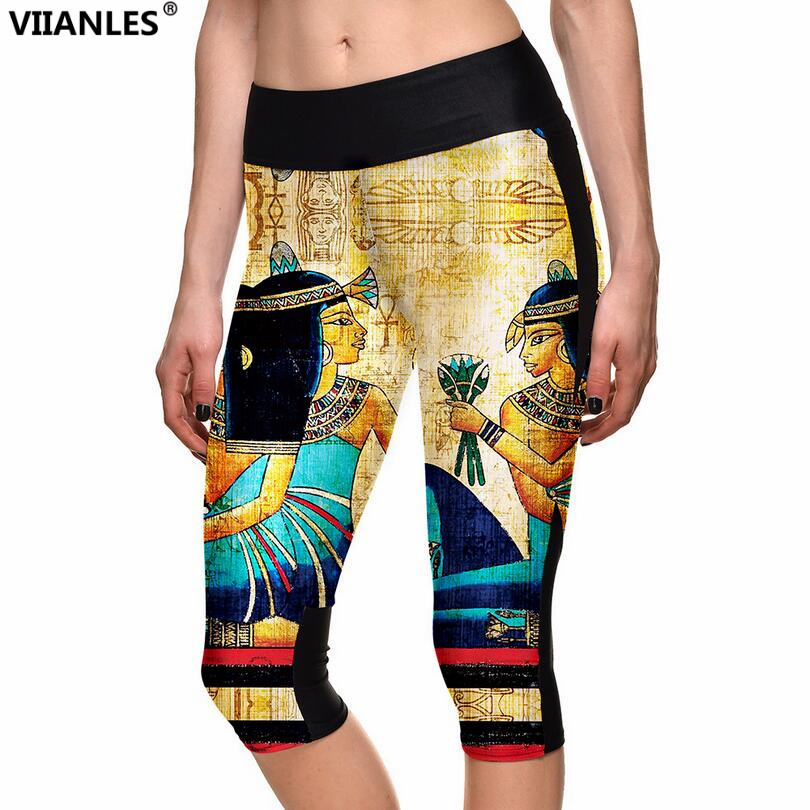 VIIANLES Harajuku Fitness Tropusers Women Leggings Capris Printed Summer Highly Elastic Sporting Workout Legging Plus Size Pants