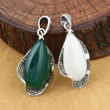 лучшая цена 925 Sterling Silver Pendant Jewelry Retro Thai Silver Men And Women Marcasite Inlay Opal Couple Agate Pendant Accessories