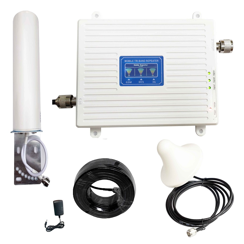 Wholesale Selling Signal Booster GSM 900 LTE 1800 WCDMA 2100 Mhz Mobile Cellular Repeater Antenna Set Cover Extensive Coverage