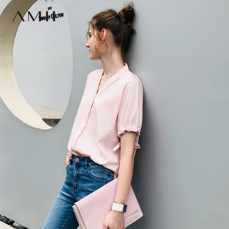 AMII Summer Short Sleeves V Neck Loose Women Shirt Vogue Casaul Lady Tops Fashion Solid Color 11960034