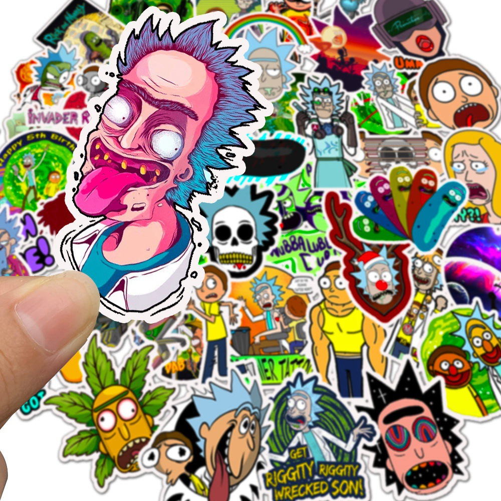 50PCS Mixed Drama Rick and Morty Stickers Cartoon Car Motorcycle Travel Luggage Phone Guitar Laptop Waterproof Joke Toy Sticker