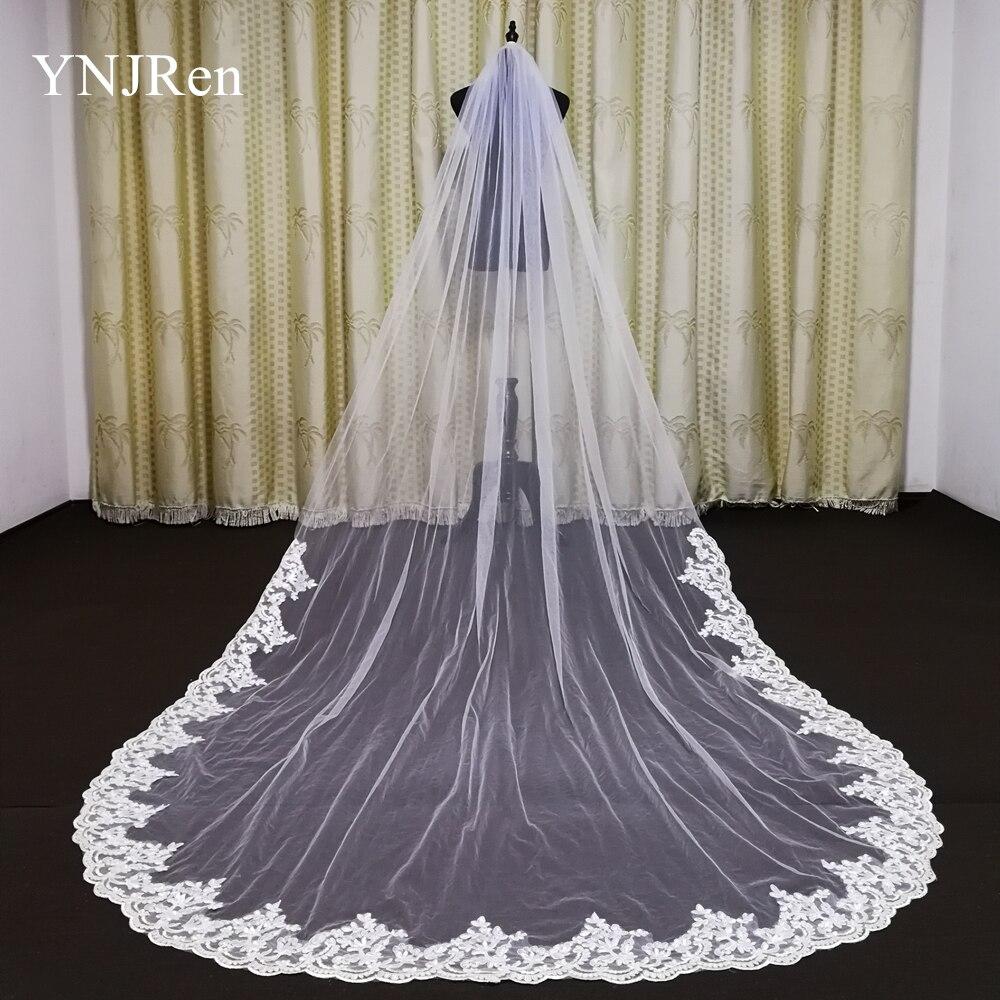 Real Photos Bride Veils White/Ivory Applique Tulle veu de noiva long wedding veils bridal accessories lace bridal veil