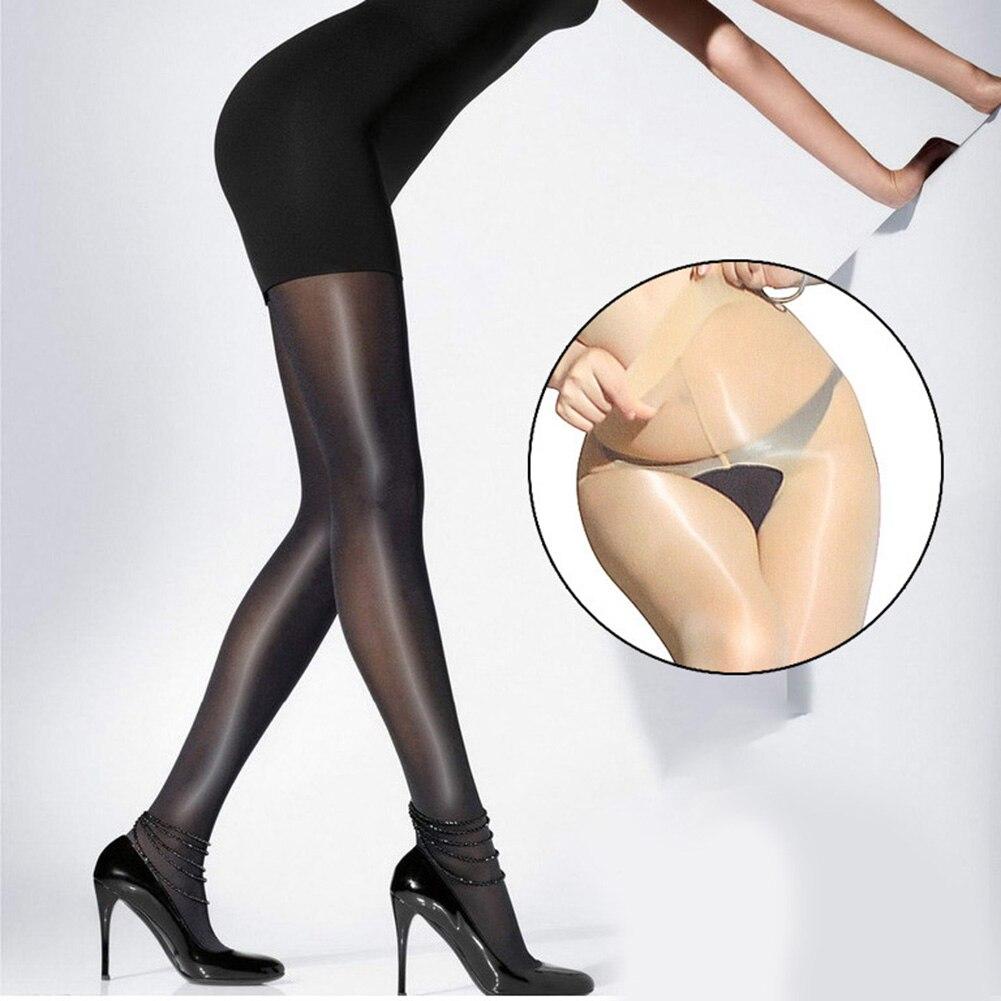 Seksi iç çamaşırı külotlu Crotchless elastik büyülü çorap Anti kanca dip yağı açık kasık parlak sıkı çorap pürüzsüz Medias