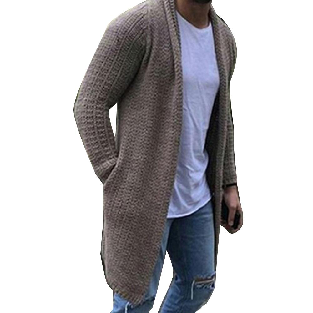 Fashion Men Warm Solid Color  Long Sleeve Hooded Sweater  Knit Sweater Coat Loose Pocket Long Cardigan