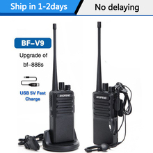 2 pièces Baofeng BF V9 Mini talkie walkie USB Charge rapide 5W UHF 400 470MHz jambon CB ensemble de Radio Portable uv 5r Woki Toki BF 888S bf888s