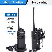 2 stücke Baofeng BF V9 Mini Walkie Talkie USB Schnelle Ladung 5W UHF 400 470MHz Ham CB Tragbare radio Set uv 5r Woki Toki BF 888S bf888s