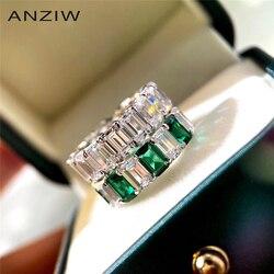 Luxe émeraude taille blanc/vert Sona simulé diamant pleine éternité anneaux anniversaire anneaux bague de mariage pour les femmes