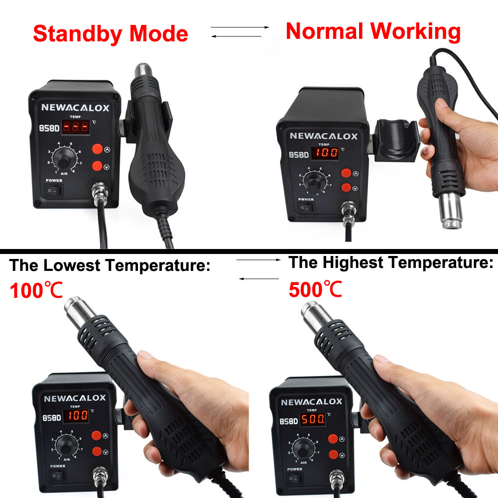 Dryer NEWACALOX IC Gun For Degree 100 Tool Thermoregul EU 500 Station Rework Desoldering LED US Air 700W 858D BGA Blow Hot Heat