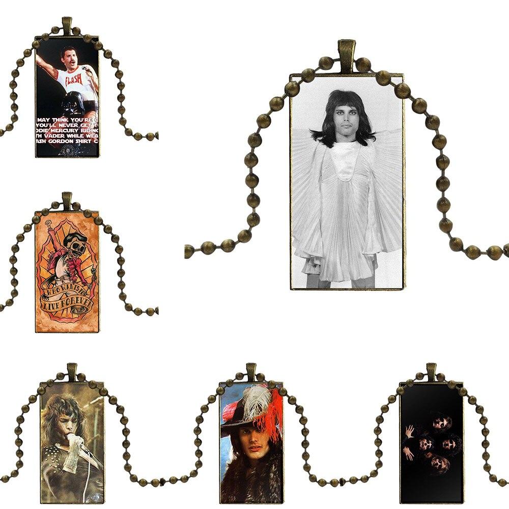 Design Fashion Vintage Glass Women Rectangle Necklace Pendants For Women Jewellery Freddie Mercury Queen Singing Tpu