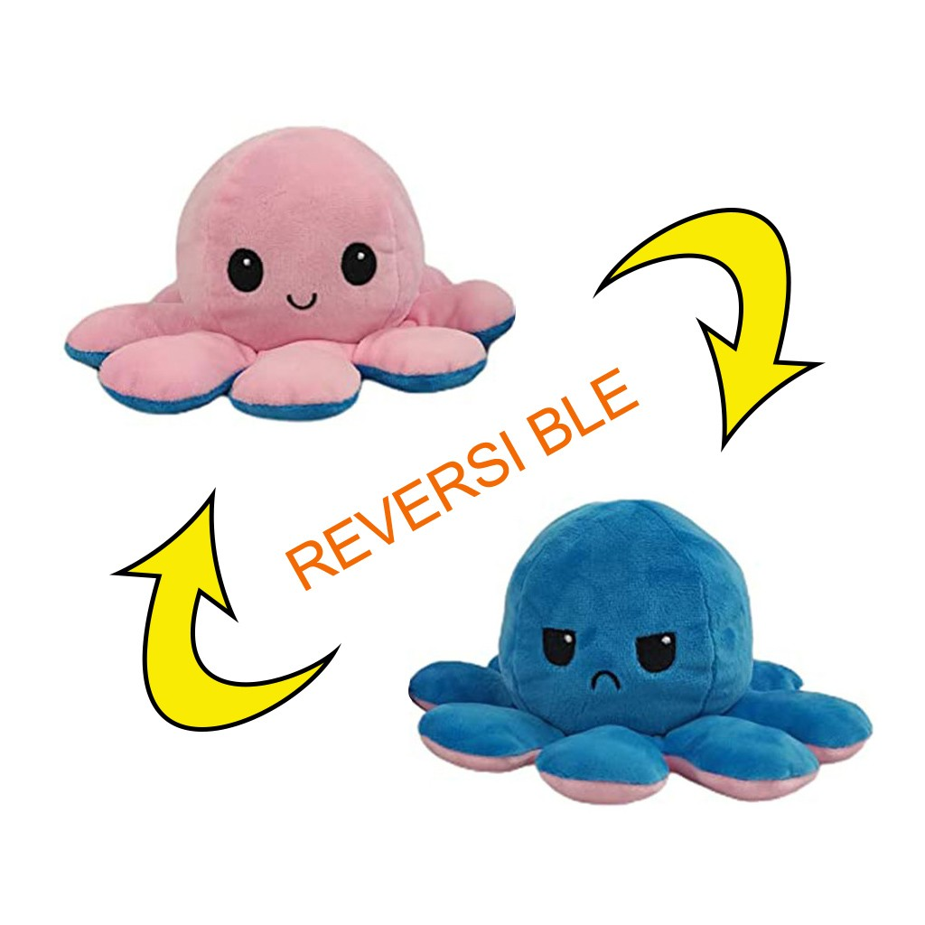 Reversible Plush Toy GLOWing Reversible Octopus Plush Mood Octopus Stuffed Animals | Happy-Funny Octopus Reversible Pink-Turquoise Octopus Plushie Reversible Reversible Plushie Mood Plush Reversable Octopus