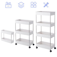 3 Tier/4 Tier Slim Storage Cart Mobile Shelving Unit Organizer Slide Out Storage Rolling Utility Cart Rack for Kitchen Bathroom(China)