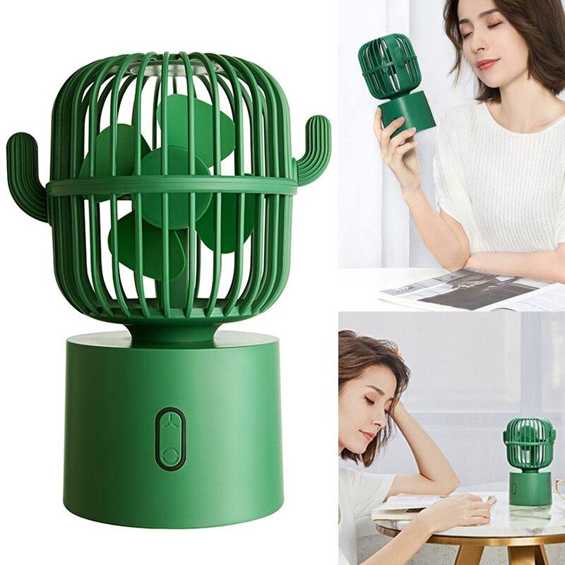 Mini Cactuses Shape Fan Mini Oscillating USB Fan For Home Bed Student Desk PI669
