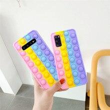 Push Pop Bubble Fidget Toys Soft Case Cover sfor Samsung S10 S20 Plus S9 Note 10 20 S21 A51 A12 A11 A01 A71 Stress Reliver Toys