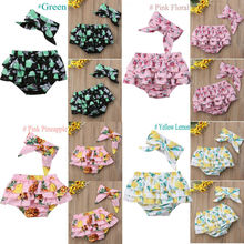 Короткие шорты с цветочным принтом для новорожденных девочек 3-24 месяцев, повязка на голову, комплект одежды